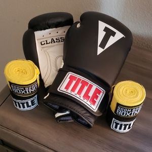 Title Classic Boxing Gloves and Wraps.